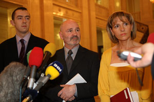 Daithí McKay, Alex Maskey and Martina Anderson speaking to Press at Stormont