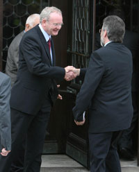 Martin McGuinness and Gerry Adams arrive at Stormont