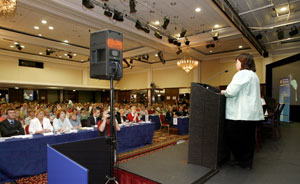 Minister for Health Mary Harney addresses the INO Special Delegate Conference