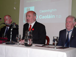 Pictured at the press conference in Monaghan on Monday 14 May, Cllr. Brian McKenna (Monaghan County Council), Caoimhghín Ó Caoláin TD and Cllr. John Martin (Cootehill Town Council).