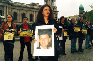 Robert Hamill's sister at a protest for her brother Robert