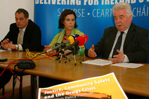 Aengus O Snodaigh speaking at the drugs Press Conference with Mary Lou McDonald and Larry O'Toole