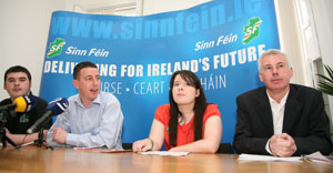 Barry McColgan, Shaun Tracey, Caoimhe Ní Swain and Seán Crowe at the launch of Sinn Féin's youth manifesto