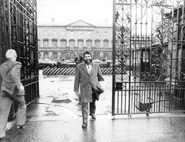 Sinn Féin Donegal County Councillor Eddie Fullerton leaving Leinster House, Dublin, after Ministers refused to meet him in 1984