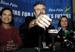 Mary Lou McDonald, Gerry Adams and Joanne Spain at Sinn Féin's final press conference of the general election campaign, Tuesday 22 May