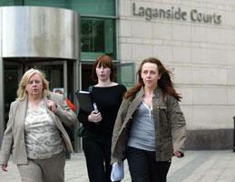 Roisin McAliskey leaving court with her mother Bernadette and sister Deirdre
