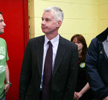 Seán Crowe at Tallaght Community school after losing his seat