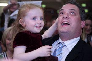 Sinn Féin candidate for Dublin South Central Aengus Ó Snodalgh with his daughter Éadaoin