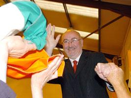 Caoimhghín Ó Caoláin celebrating after his election victory in Cavan-Monaghan