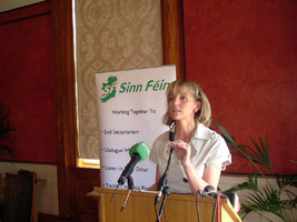 Martina Anderson speaking in Stormont at the launch of the Sinn Féin's charter for Unionst engagement
