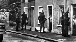 British Army door-to-door raiding during the Falls Curfew