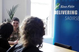 Barry McColgan of Ógra Shinn Féin with the two SEGI representatives who visited Ireland earlier this month