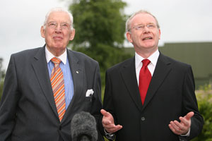Ian Paisley and Minister Martin McGuinness speaking before the meeting of the All Ireland Ministerial Council