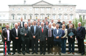 Pearse Doherty with Sinn Féin TDs and Councillors outside Leinster House on the day they voted in the Seanad election