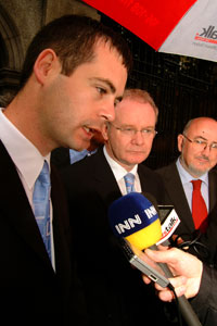 Sinn Féin's newly elected Senator, Pearse Doherty, talks to the media, accompanied by Northern Deputy First Minister Martin McGuinness and the party's Dáil Leader, Caoimhghín Ó Caoláin TD