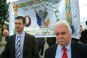 Pearse Doherty and Larry O'Toole at the commemoration