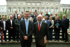 Pearse Doherty with Sinn Féin TD's and Councillors outside Leinster House on the day they voted in the Seanad election