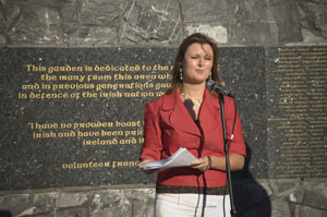Joanne Spain addresses the Counties Derry and Antrim Republican Commemoration in Gulladuff
