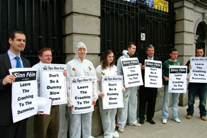 Picket outside Leinster House highlighting the fact that Ireland's roads are among the most unsafe in Europe