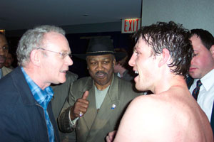 Martin McGuinness with 'Smoking' Joe Frazer and John Duddy following his successful title defence at Madison Square Gardens, New York,  Friday 16 March 2007