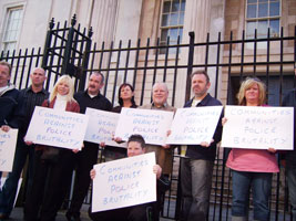 Protest outside Bishop Street Courthouse over use of CS gas by PSNI