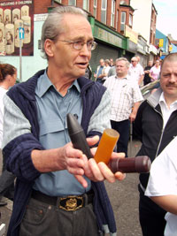 Jim McCabe displays lethal plastic and rubber bullets