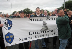 Limerick Sinn Féin activists, including Limerick East representative Maurice Quinlivan, taking part in the protest march at Shannon last Friday, 17 August