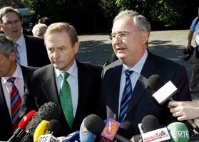 Fine Gael leader Enda Kenny and former Labour Party leader Pat Rabbitte