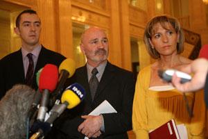 Sinn Féin Policing Board members Daithí McKay, Alex Maskey and Martina Anderson