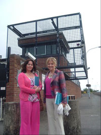 Jennifer McCann and Martina Anderson outside Dunmurray Barracks