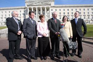 Sinn Féin Assembly ministers speaking outside Stormont