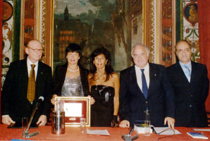 Silvia Calamati (second from the left) with members of the jury during the award ceremony in Salerno, Italy