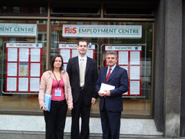 Joanne Spain, Pearse Doherty and Arthur Morgan before the meeting with Roddy Molloy, Director General of FÁS
