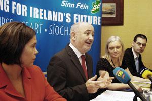 Mary Lou McDonald, Caoimhghín Ó Caoláin, Deirdre Donnelly and Pearse Doherty at the press conference