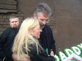 Gerry Adams with Briege Meehan at Martin's funeral on Tuesday