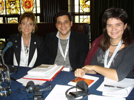 Martina Anderson MLA, pictured with Temir Porras, Chief of Staff at the Venezuelan Ministry of Foreign Affairs, and Raquel Garido, from the Pour la Republique Social, France