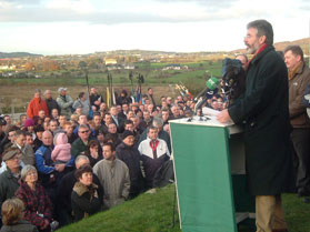 Sinn Féin President Gerry Adams MP gives the main address