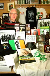 Peter Graves with a selection of items from the Sinn Féin Bookshop