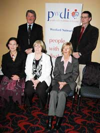 Mary Lou McDonald MEP in Enniscorthy with Catherine Quigley (People with Disabilities in Ireland), Paula Carolan (Wexford Education Centre) and Patt Goff (Irish Primary Principals' Network) and Seán O'Leary (Special Education Support Service)
