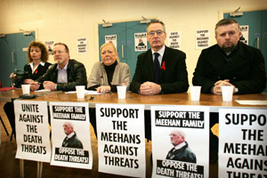 Carál Ní Chuilín, Martin Walsh of the Ardoyne CEP, Briege Meehan, Gerry Kelly and Fr Gary Donegan of Holy Cross at the show of solidarity with the Meehan family