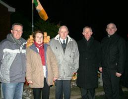Sinn Féin MP Conor Murphy, Fergal Caraher's parents, Mary and Peter John, and Sinn Féin Councillors Brendan Curran and Colman Burns at the memorial in South Armagh dedicated to Fergal Caraher