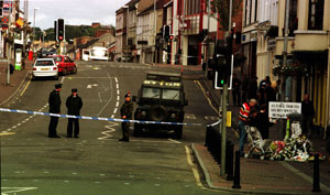 The scene in Omagh town where the bomb exploded