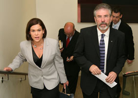 Dublin Sinn Féin MEP Mary Lou McDonald and Sinn Féin President Gerry Adams