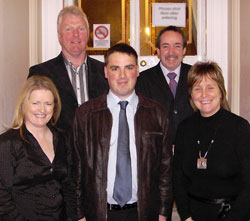 Darren Mc Nally pictured centre front along with Mary Doyle and Cathy Rafferty, backrow Paul Corrigan and Noel Sheridan