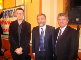 SIPTU President Jack O'Connor (centre), flanked by Sinn Féin's David Cullinane and Arthur Morgan, at the Waterford meeting on agency workers' rights