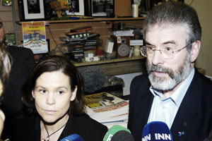 Mary Lou McDonald and Gerry Adams after the Sinn Féin meeting to finalise plans for the party's campaign in opposition to the Lisbon Treaty