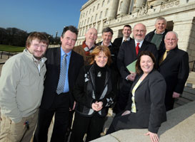 Sinn Féin Agriculture Minister Michelle Gildernew with the delegation of turkey growers, supported by broiler and pig producers and accompanied by Sinn Féin TD Caoimhghín Ó Caoláin and Councillor Pat Treanor at Stormont