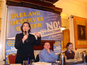 Mary Lou McDonald MEP addresses the Dublin meeting