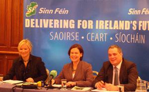 At the launch of the 2008 Sinn Féin Ard Fheis Clár Michelle O'Neill, Mary Lou McDonald and Aengus Ó Snodaigh