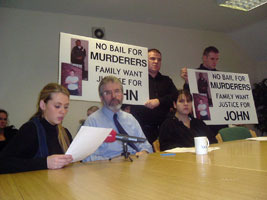 Mary Ellen Cawley, Gerry Adams and Julia Mongan at the press conference
